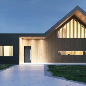 nowoczesny drewniany dom